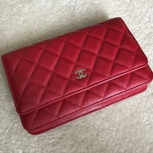 Authentic Chanel Wallet on Chain in Red Caviar-NWT